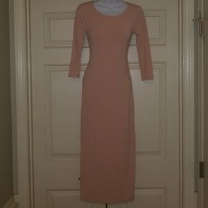 Forever 21 Apricot Pale Pink Blush Midi  Dress